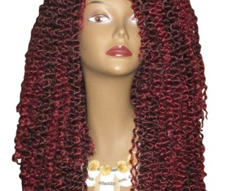 Essence Wigs Kinky Wave II Twist Out (Long) Crochet Lacefront Wig Unit Fiery Red Wig Curly Hair