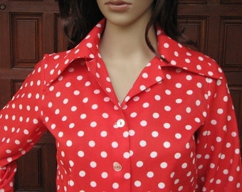 Vintage Red Polka Dot Blouse,  1970's Polka Dot Blouse, Disney Dapper Day, Rockabilly Blouse