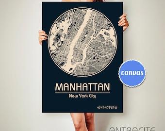 MANHATTAN New York CANVAS Map Manhattan New York Poster City Map Manhattan New York Art Print Manhattan New York