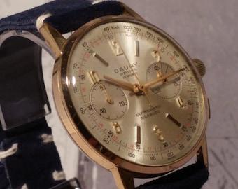 watches vintage uk vintage men s chronograph cauny watch vintage chronograph gold chronograph watch gents chronograph vintage gold chronograph suede strap