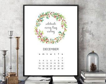 2017 Motivational Quotes Modern Floral Watercolor Wall, Desk, Frame Printable Calendar // Letter Size - 8,5 x 11 in