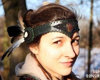 big tribal feather headdress/mohawk with macrame ornament and bloodjasper