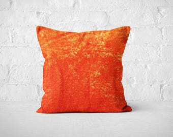Orange Velvet  Throw Pillow | Plush Dorm Velvet Cushion | Orange Cushion | Designer Pillow