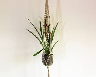 Macrame Hanging Planter, Midcentury Modern Home Decor, Terra Cotta pottery, Home Decoration, Handmade Hemp Plant Hanger
