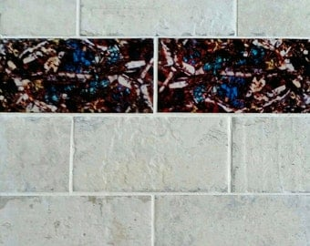 Kitchen & Bathroom Tiles - Mineral Photography Custom Feature Tiles - Pyroxene Crystals - Art and Science