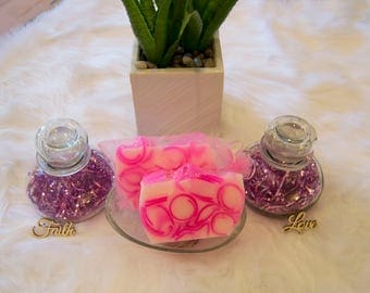 Friends & Family - Light Pink, Hot Pink and White Handcrafted Glycerin soap