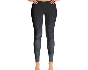 Mid Rise Gray Ombre Leggings - Grunge Gray and Black Yoga Pants, Ombre Tights, Yoga Leggings, Stretch Pants