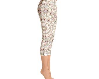 Custom Capri Leggings for Women - Printed Leggings, Comfy Yoga Pants, Yoga Designs Leggings, Bohemian Yoga Pants, Hippie Clothes