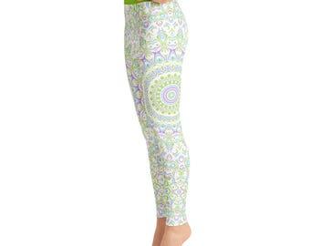 High Waist Spring Yoga Leggings - Cute Printed Leggings, Yoga Pants Womens Pattern Leggings Tights
