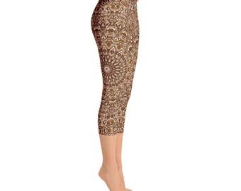 Capri Brown Leggings - Brown and White Printed Leggings, Chocolate Brown Yoga Leggings, Mandala Art Tights, Stretchy Yoga Pants