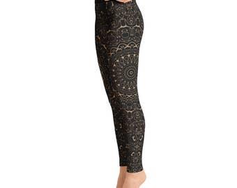 Camel Yoga Pants - Black Leggings with Brown Mandala Designs for Women, Printed Leggings, Pattern Yoga Tights