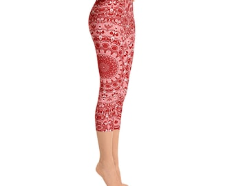 Red Capris Leggings, Pattern Yoga Pants Red, Printed Red Mandala Art Leggings