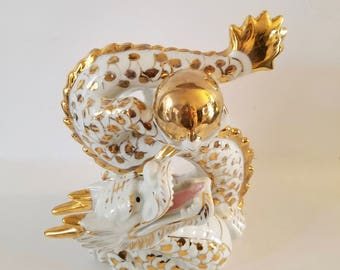 Lucky Dragon Statue, Vintage Feng Shui Dragon Porcelain, Chinese Good Luck, Prosperity Statue