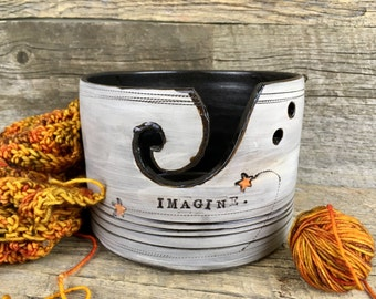 Large yarn bowl knitting bowl stars
