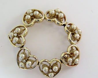 Vintage Faux Pearl Rhinstone Heart Wreath Brooch