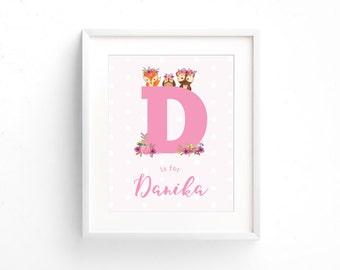 Baby Name Print | Woodland Nursery Wall Art | Baby Door Sign | Letter Initial Girl | Baby Keepsake | New Baby Gift  | Nursery Decor