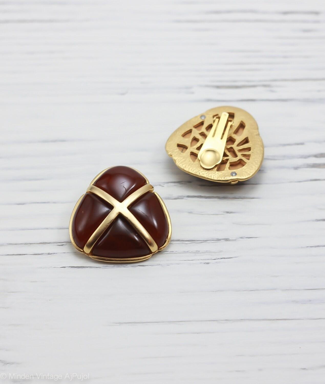 vintage mid century mod earrings clip on gold tone