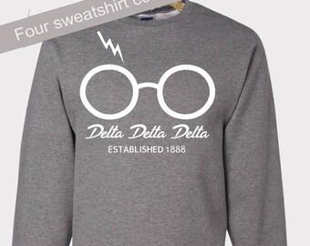 Tri Delta Sweatshirt, Lightning Bolt, Delta Delta Delta, TD Letters, Reveal Gift, Recruitment Gift, Sorority Gift, Big Little Reveal