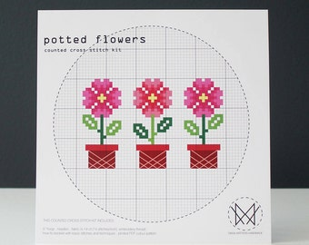 Potted Flowers - Easy DIY Cross Stitch Kit - Beginners Cross Stitch Kit