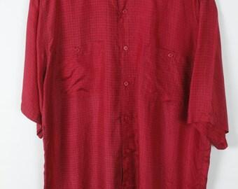 Vintage shirt 80s silk short sleeves oversized