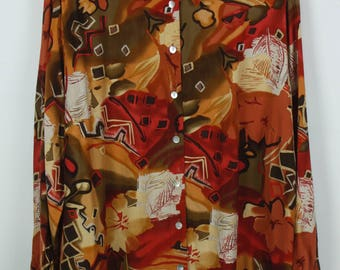 Vintage shirt, 80s clothing, shirt 80s, fall print, long sleeves, oversized
