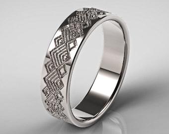 Men's Platinum Wedding Ring, Square Pattern Ring, Men's Platinum Wedding Band,Unique Platinum Wedding Ring,Geometric Pattern Ring,Men's Ring