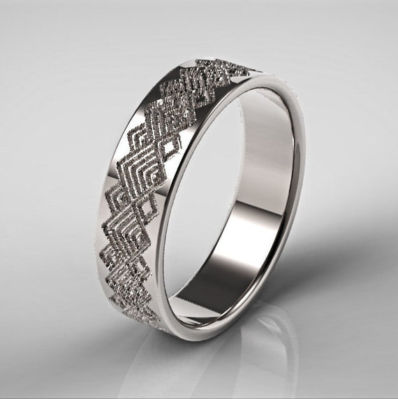 Mens Platinum Wedding Ring Square Pattern Ring