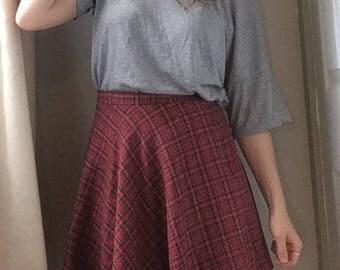 Vintage 1990s Red Plaid Skater Skirt, UK 8-10