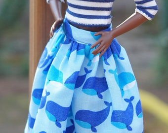 Striped shirt and a skirt with whales pattern for a barbie doll with standard body.