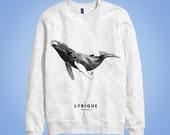 Sweatshirt gris: baleine à bosse LYRIQUE (lyric, lyrical humpback whale) animal totem 2016 illustration