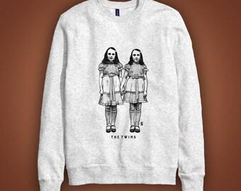 Grey casual sweatshirt THE TWINS (jumelles film Shinning Kubick) illustration dessin Halloween