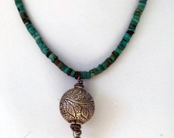 African Turquoise and Sterling Silver Necklace