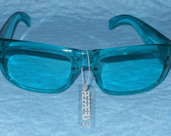 Rare Vintage Bluish - Green Clear Peepers WOX Sunglasses New with Tag Made in France