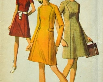 Uncut 1960s Simplicity Vintage Sewing Pattern 8491, Size 18; Misses' Dress