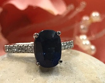 Engagement, Anniversary, Promise ring with Blue Sapphire and  Diamonds#4848