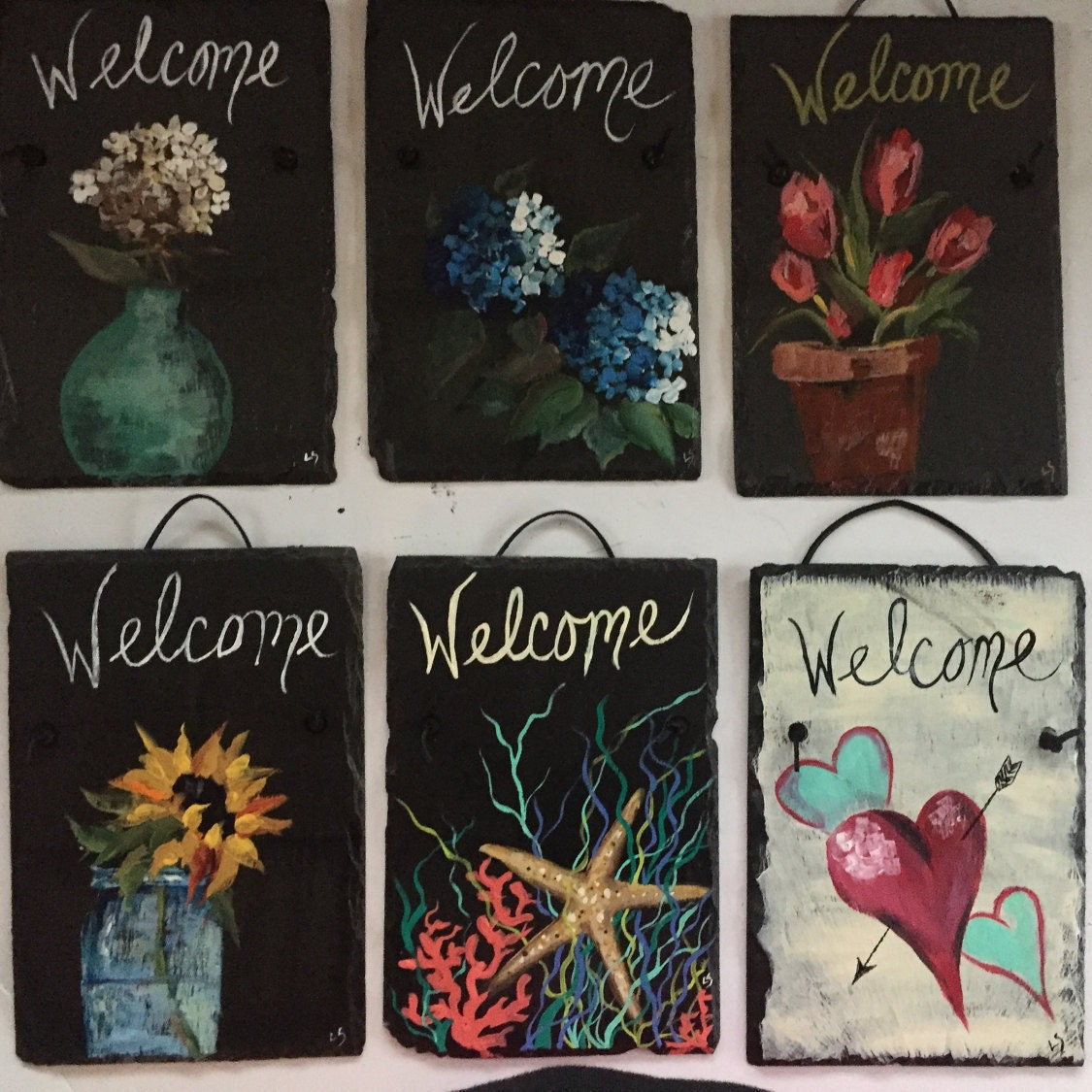 Personalized slate welcome signs 12 x 8 painted slate door personalized slate welcome signs 12 x 8 painted slate door hanging welcome sign front door decorations door sign beach house decor rubansaba