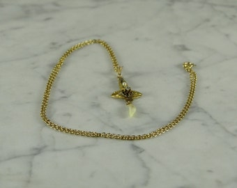 "10K Lavalier / Diamond / 14K Gold Chain (18"")"