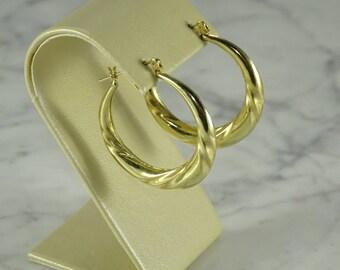 14K Yellow Gold Hoops ( pierced)