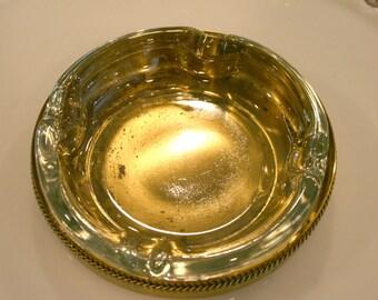 Glass Ashtray//Brass Holder//Brass and Glass Ashtray//Mad Med Era//Vintage Ashtray
