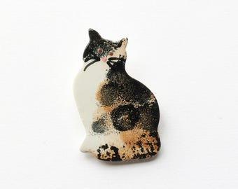 Cat Brooch, Cat Jewellery, handmade brooch, ceramic brooch, mothers day gift.