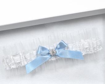 Something Blue Wedding Garter, Bridal Garter, White Wedding Garter, Blue Wedding Garter, White Lace Garter, Tule Garter, Blue Garter