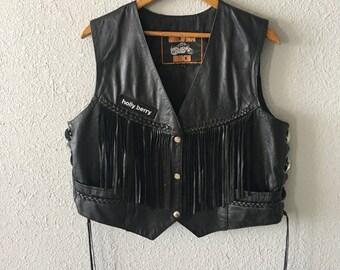 Vintage Black Leather Fringed Biker Vest by Silver Bike