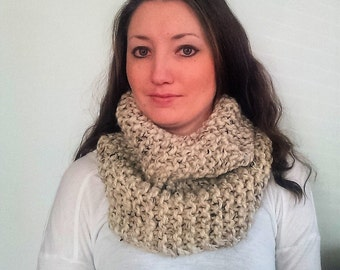 Knit Infinity Scarf, Knit Cowl Scarf, Chunky Knit Scarf, Oatmeal Riverside Cowl