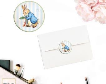 Peter Rabbit Envelope Seals, Peter Rabbit Envelope Stickers, Peter Rabbit Baby Shower Birthday Invitation, 026-B | Prisellie Designs