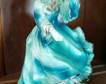 Vintage Japan Figurine with blue/green flowing dress