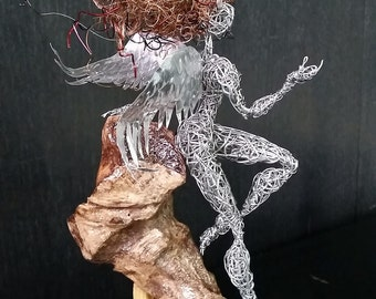 Angel and Devil,Unique Wire Art,Gift for Him,Magic love sculpture,fun art Fairytale,eternal Woman figure,modern art decor,love home design