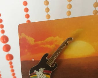Vintage Deadstock Rainbow Unicorn Guitar Pin