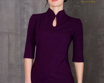 Elegant Purple Dress by TAVROVSKA, Half Sleeve Pencil Knee-Length Dress, Violet Dress, Stand Collar, Mandarine Collar