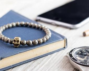 6mm - Bronze hematite beaded stretchy bronze skull bracelet, custom made yoga bracelet, mens bracelet, tiger eye bracelet