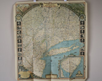 National Geographic map The Reaches of the New York City 1939 Vintage